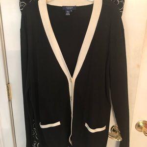 Black and cream sweater.